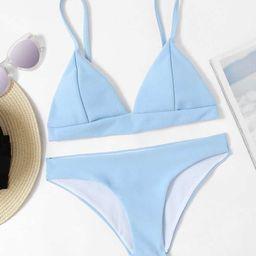Seam Detail Triangle Bikini Set | SHEIN