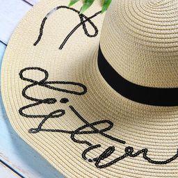 Beige Sequin Letter Wide Brim Straw Hat | SHEIN