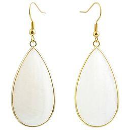SUNYIK Women's White Shell Round Teardrop Dangle Earrings   Amazon (US)