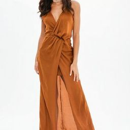 Missguided - Brown Satin Front Split Wrap Maxi Dress | Missguided (UK & IE)