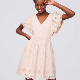 Eyelet Flutter Dress   LOFT