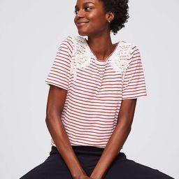 Striped Lace Applique Tee | LOFT