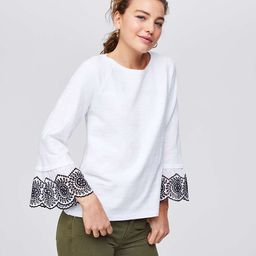 Eyelet Cuff Sweatshirt | LOFT