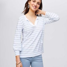 Striped Tasseled Tie Cuff Sweater Tunic | LOFT