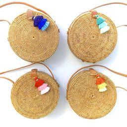 Bali Ata Round Rattan Bag // Circle Straw Crossbody Purse // Natural Star Pattern // Leather Strap /   Etsy (US)