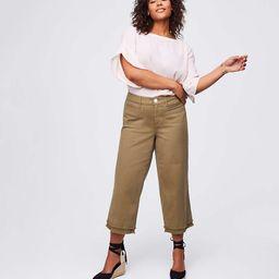 LOFT Plus Frayed Wide Leg Crop Jeans in Magnolia Green | LOFT