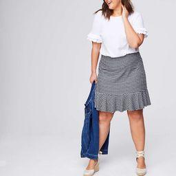 LOFT Plus Gingham Flounce Pull On Skirt | LOFT