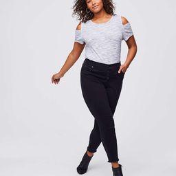 LOFT Plus Button Fly Skinny Jeans in Black | LOFT