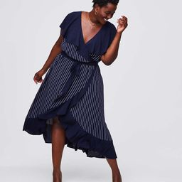 LOFT Plus Pinstripe Ruffle Wrap Dress | LOFT