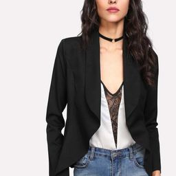 Shawl Collar Open Front Blazer   SHEIN
