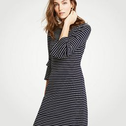 Striped Ponte Flare Sleeve Dress | Ann Taylor (US)