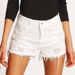 Ripped Detail Raw Hem Denim Shorts | SHEIN