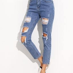 Distressed Ankle Jeans | SHEIN