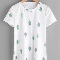 Allover Cactus Print Tee   SHEIN