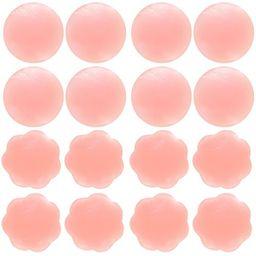 Senchanting Thin Reusable Adhesive Silicone Nipple Covers Breast Petals Pasties (4 pair round+4 pair | Amazon (US)