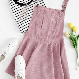 Pocket Front Zip Up Back Corduroy Pinafore Dress | ROMWE