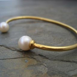 Double pearl cuff, twin pearl bracelet, natural pearl bangle, bridal open bangle, gold open bracelet | Etsy (US)
