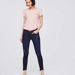 Petite Modern Skinny Chewed Hem Jeans in Dark Indigo Wash | LOFT