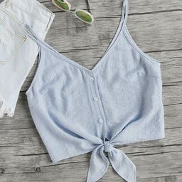 Button Placket Knot Front Cami Top | SHEIN