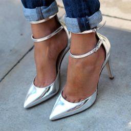 Women's Sliver Ankle Strap Heels Pointy Toe Stilettos Pumps   FSJshoes