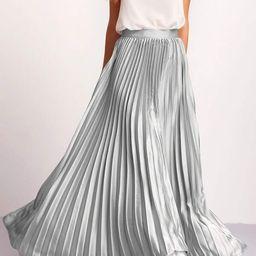 Zipper Side Pleated Flare Maxi Skirt | SHEIN