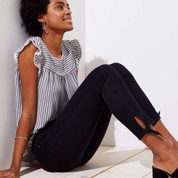 Modern Tie Cuff Skinny Crop Jeans in Black | LOFT