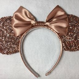 Rose Gold sequins ears, Rose Gold Minnie inspired Ears, Minnie Mouse ears, Mickey Mouse ears   Etsy (US)