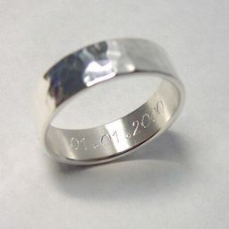 Thick Hammered Silver Ring Hammered Sterling Silver Ring Made to Size Made to Order Engraving Option   Etsy (US)