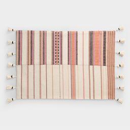 Orange Stripe Oasis Placemats with Tassels Set of 4 | World Market