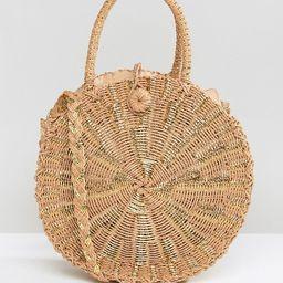 South Beach Round Gold Woven Straw Cross Body Bag | ASOS US