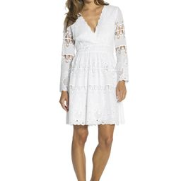 Embroidered Cotton Fit & Flare Dress White   Sail to Sable