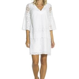 Embroidered Cotton Bell Sleeve Shift White   Sail to Sable