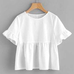 SHEIN Ruffle Sleeve Babydoll Top | SHEIN