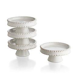 American Atelier Bianca Bead Pedestal Cupcake Plates (Set of 4), White | Amazon (US)