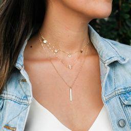 Gold Bar Necklace / Gold Hanging Bar Necklace / Gold Layering Necklace / Dainty Bar Necklace / Thin  | Etsy (US)