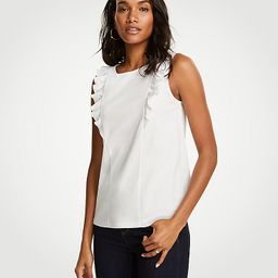 Refined Cotton Ruffle Shell | Ann Taylor (US)
