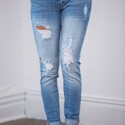 The Libbie Light Wash Distressed Skinny Jeans   The Pink Lily Boutique