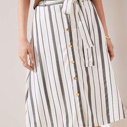 Striped Button Down A-Line Skirt | LOFT