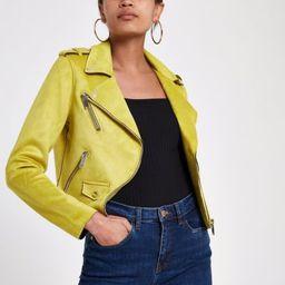 Yellow faux suede biker jacket | River Island (UK & IE)