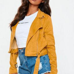 Yellow Faux Suede Biker Jacket | Missguided (US & CA)