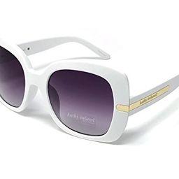 Loose Leaf Eyewear Women's Kathy Ireland Oversized Square Sunglasses, White & Gold | Amazon (US)