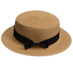 Lawliet Womens Straw Boater Hat Fedora Panama Flat Top Ribbon Summer A456 (Natural) | Amazon (US)