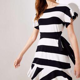Petite Striped Tie Waist Flounce Dress | LOFT