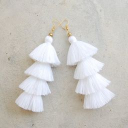 Pure White Four Layered Tassel Earrings | Etsy (US)
