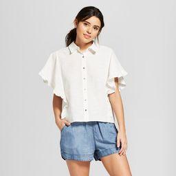 Women's Ruffle Sleeve Button-Down Shirt - Universal Thread™ | Target