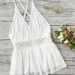Lace Trim Criss Cross Backless Pleated Cami Top | SHEIN