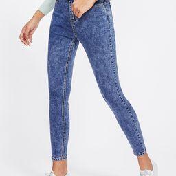 Bleach Wash Skinny Crop Jeans | SHEIN