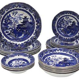English Willow Pattern Dishes, 28Pcs   One Kings Lane