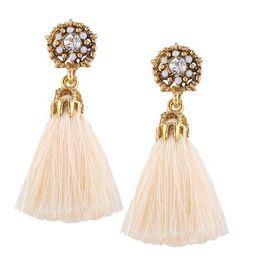 DSstyles Jewel-encrusted Women Earrings Fashion Rhinestone Long Dangle Tassel Ear Drop Beige | Walmart (US)