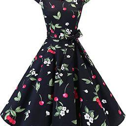 DRESSTELLS Retro 1950s Cocktail Dresses Vintage Swing Dress with Cap-Sleeves Black Small Cherry L   Amazon (US)